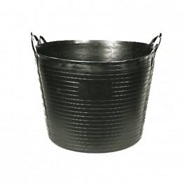 Capazo de plástico goma de color negro y asa ergonómica